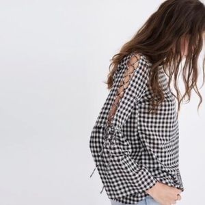 Madewell | Gingham Lace Up Bell Sleeve Blouse